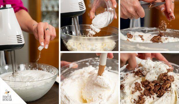 Τοποθετείτε το μείγμα στο ταψάκι και το πιέζετε ομοιόμορφα με ένα ποτήρι ή με την πίσω πλευρά ενός κουταλιού.. Το βάζετε στο ψυγείο να κρυώνει όσο θα ετοιμάζετε την γέμιση.